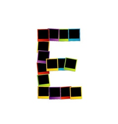 Alphabet e with colorful polaroids vector