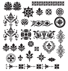 Floral decorative set vector