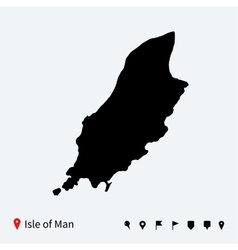 High detailed map of isle of man with navigation vector