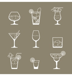 Alcohol drinks and cocktails icon set in flat vector
