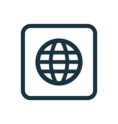 Globe icon rounded squares button vector