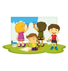 Children painting vector