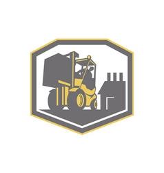 Forklift truck materials handling logistics retro vector