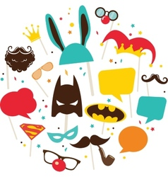 Mask and costumes for photo booth colorful props vector