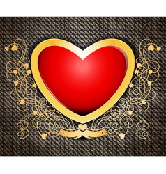 Shape heart on metallic rusty abstract background vector