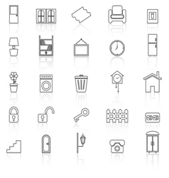 House related line icons with reflect on white vector