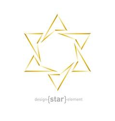 Golden star on white background vector