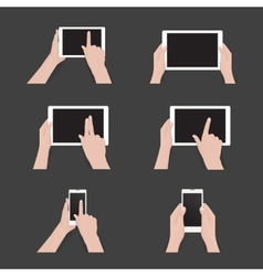 Set of commonly used multi-touch gestures vector