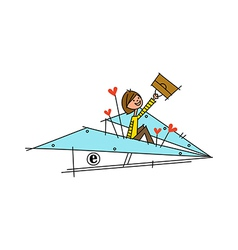 A boy with paper plane vector
