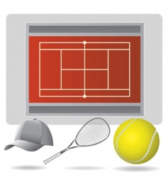 Tennis field and accessories vector