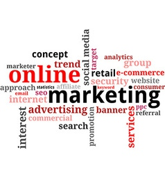 Word cloud online marketing vector
