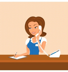 Female receptionist is taking a call vector