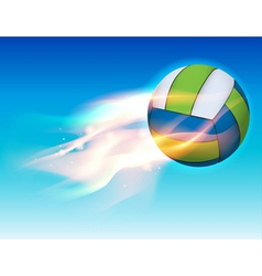 Flaming volleyball in the sky vector