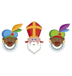 Sinterklaas and his helpers vector