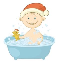 Baby santa claus washing in the bath vector