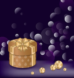 Christmas background with gift box and pearls vector