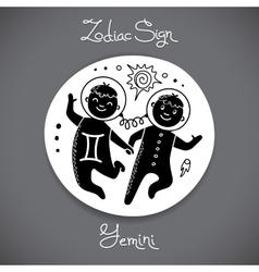 Gemini zodiac sign of horoscope circle emblem in vector