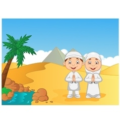Cartoon muslim kids with pyramid background vector