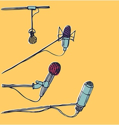Microphones hand-drawn graphic elements eps 10 vector