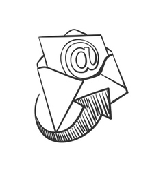 Hand draw doodle mail vector