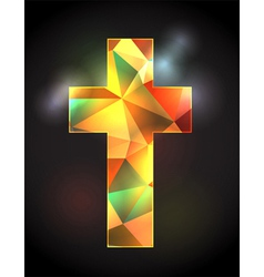 Christian cross with stained glass vector