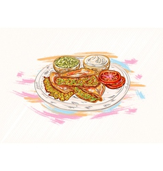 Food with grunge vector