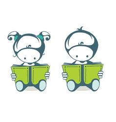 Children read a book vector
