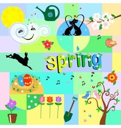 Funny spring background vector