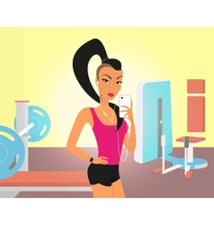 Brunette woman doing selfie in the gym vector