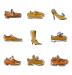 Collection of shoes footwear vector