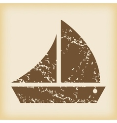 Grungy sailing ship icon vector