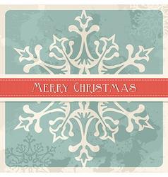 Vintage merry christmas snowflake postcard vector