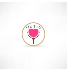 Heart mic icon vector