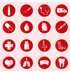 Hospital and medical icons set in red circle eps10 vector