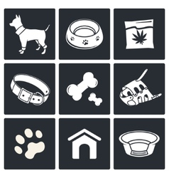 Doggy icons set vector