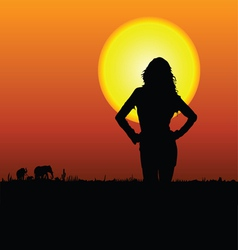 Girl on the safari vector