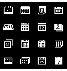 White calendar icon set vector
