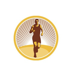 Marathon runner running front circle retro vector