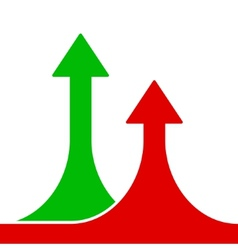 Red and green rising arrows on white background vector