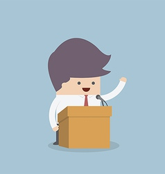 Businessman standing on podium and giving a speech vector