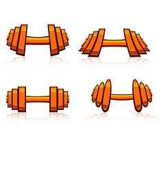 Set of strength training weights vector