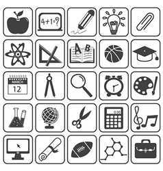 Basic education icons set vector