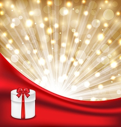 Gift box with red bow on glowing background vector