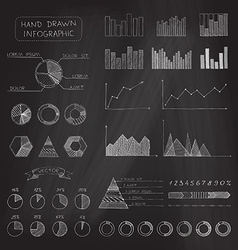 Set of chalk business infographic vector