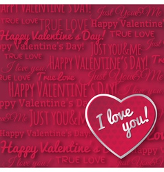 Red background with red valentine heart vector