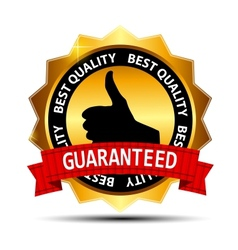 Best quality guaranteed gold label with red ribbon vector