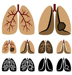 Human lung cancer icons vector