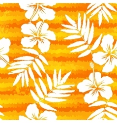 Orange bright flowers and painted stripes seamless vector