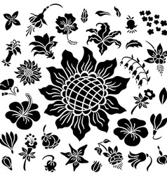Flower silhouettes set vector