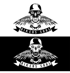 Biker theme label with flowerswingspistons and vector